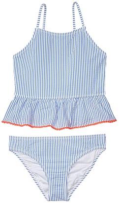 crewcuts by J.Crew Two-Piece Seersucker Peplum Tankini (Toddler/Little Kids/Big Kids) (Blue) Girl's Swimwear Sets