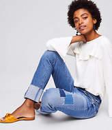 LOFT Petite Modern Patchwork Straight Flip Cuff Jeans in Dark Indigo Wash