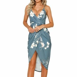 DEELIN Dresses Women's Gift Summer Beach Deep V-Neck Sleeveless Camisole Backless Printing Irregularity Slim Fit Dress Party Cocktail Dress for Women(Green XXL)
