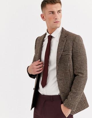 Asos Design DESIGN wedding Harris Tweed slim blazer with wool microcheck in brown