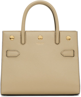 Burberry Beige Mini Two-Handle Title Bag