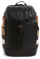 Burberry Men's Drifton Leather & Canvas Backpack - Black