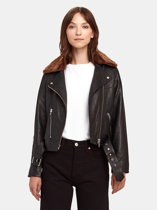 AllSaints Rigby Lux Leather Faux Fur Collar Biker