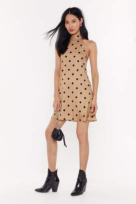 Nasty GalNasty Gal Womens High Neck Polka Dot Swing Dress - Brown - 10, Brown