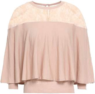 Valentino Cape-effect Chantilly Lace-paneled Wool Top