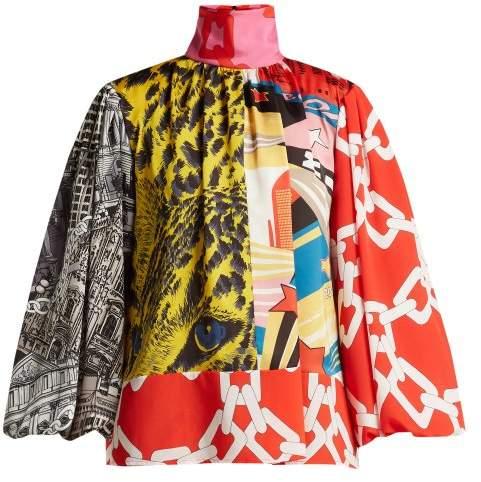 MSGM Multi Print Satin Blouse - Womens - Red Multi