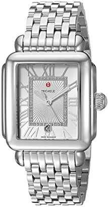Michele Deco Madison Diamond Dial Watch (Silver) Watches