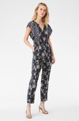 Rebecca Taylor Paisley Fleur Silk Twill Jumpsuit