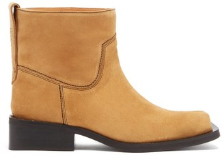Ganni Low Mc Suede Ankle Boots - Womens - Beige