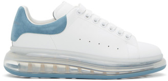 Alexander McQueen White and Blue Clear Sole Oversized Sneakers
