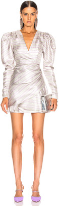 Rotate by Birger Christensen Wrap Effect Metallic Mini Dress in Purple | FWRD