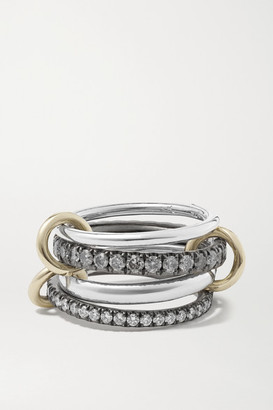 Spinelli Kilcollin Sagittarius Deux Gris Set Of Four 18-karat Gold And Rhodium-plated Sterling Silver Diamond Rings - 6