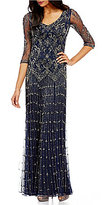 Pisarro Nights Petites V-Neck Beaded Gown