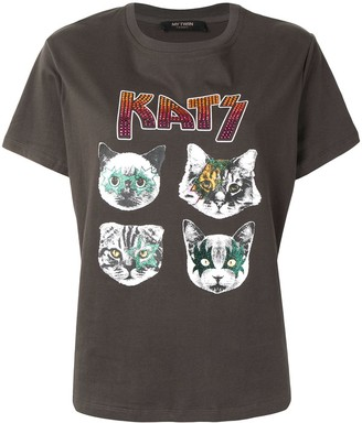 Twin-Set Kats print stud detail T-shirt