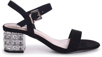 Linzi MISTY - Black Suede Mid Heel with Diamante Block Heel