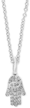 "Effy Diamond Pave Hamsa Hand 18"" Pendant Necklace (1/10 ct. t.w.) in Sterling Silver"