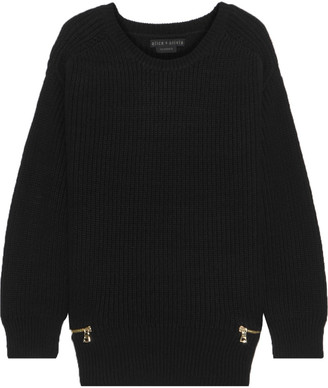 Alice + Olivia Zip-detailed Ribbed-knit Sweater