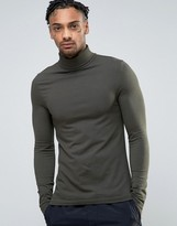 Asos Extreme Muscle Long Sleeve T-Shirt With Roll Neck In Khaki