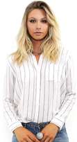 Rails Charli Button Down in White/Ink Stripe