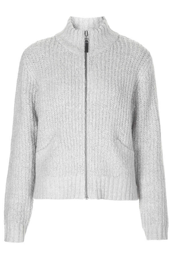 Topshop Chunky knitted bomber cardigan with ribbed detail and zip through centre. 66% acrylic, 18% cotton, 15% nylon, 1% elastane. machine washable.