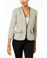 Kasper Contrast-Trim Tweed Blazer, Regular & Petite