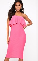 PrettyLittleThing Hot Pink Frill Bandeau Midi Dress