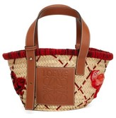 Loewe Bird-embroidered Small Basket Bag - Womens - Red Multi