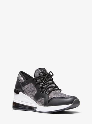 MICHAEL Michael Kors MK Liv Extreme Leather and Glitter Chain-Mesh Trainer - Black/silver - Michael Kors