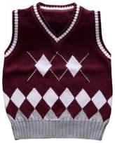 Happy Cherry Boys Cardigan Sweater Vest V-Neck Argyle Cable-knit Clothes 6T