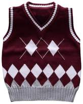 Happy Cherry Little Boys Warm Sweater Vest V-Neck Cable-knit Pullover 4T