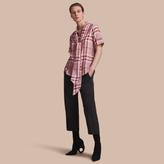 Burberry Short-sleeve Check Cotton Tie Neck Shirt