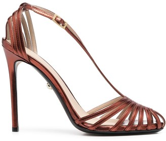 Alevì Metallic-Finish Buckle-Strap Sandals