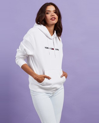 Tommy Jeans Women's White Hoodies - Linear Logo Hoodie - Size XS at The Iconic