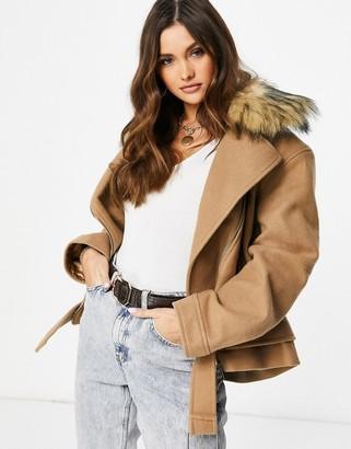 NA-KD faux fur collar biker jacket in camel