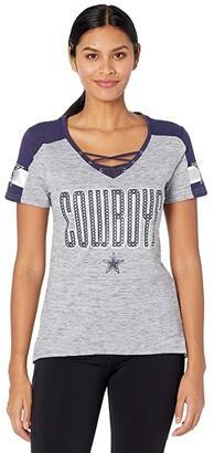 Dallas Cowboys Dallas Cowboys Curetta Jersey Tee (Athletic Gray/Navy) Women's Clothing