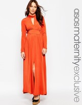 Asos Maxi Dress With High Neck and Split Thigh