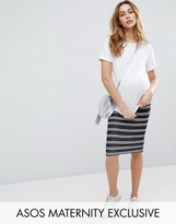 Asos Over the Bump Stripe Pencil Skirt