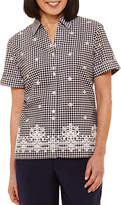Alfred Dunner Classics Relaxed Fit Short Sleeve Gingham Button-Front Shirt