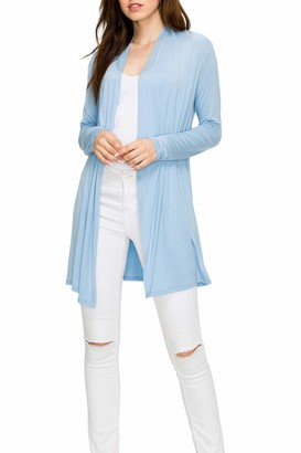 EttelLut Long Open Front Lightweight Cardigan Sweaters Regular and Plus Size Baby Blue XXL