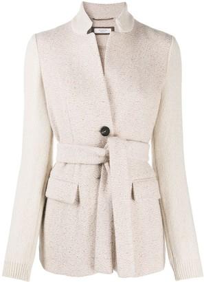 Peserico Single-Breasted Rib-Trimmed Jacket
