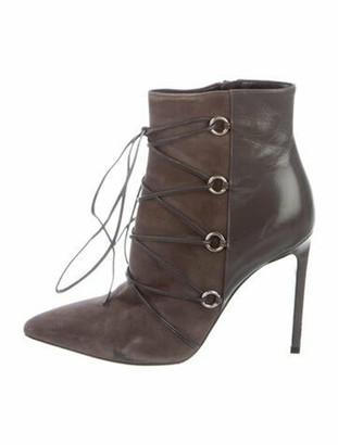 Saint Laurent Suede Lace-Up Boots Grey