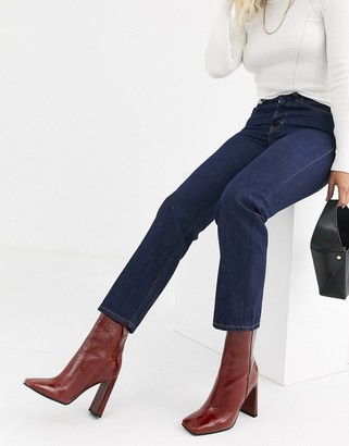Topshop Editor straight leg jeans in dark wash