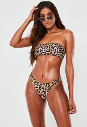 Missguided Animal Print Mix And Match Bandeau Bikini Top