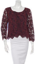Carven Lace Paneled Long Sleeve Top