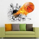 ASIV 3D Flying Fire Broken Basketball Removable Vinyl Wall Stickers Mural for Room Decor