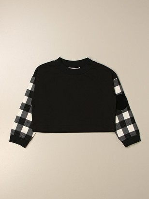 Simonetta Cropped Sweatshirt With Checked Sleeves