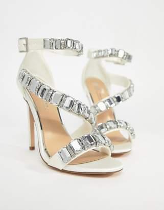 Asos Design HOPES AND DREAMS Premium Bridal Heeled Sandals-Cream