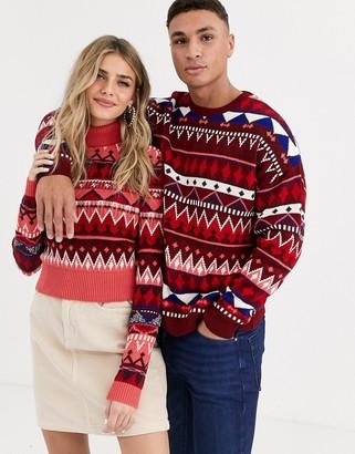 Asos DESIGN his & hers fairisle roll neck sweater