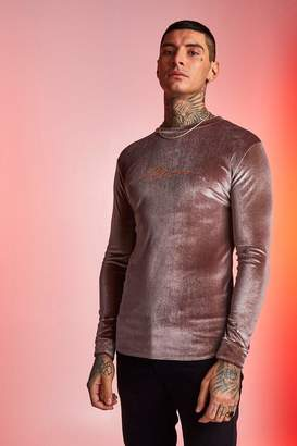 boohoo MAN Signature Velour Long Sleeve Muscle Fit T-Shirt