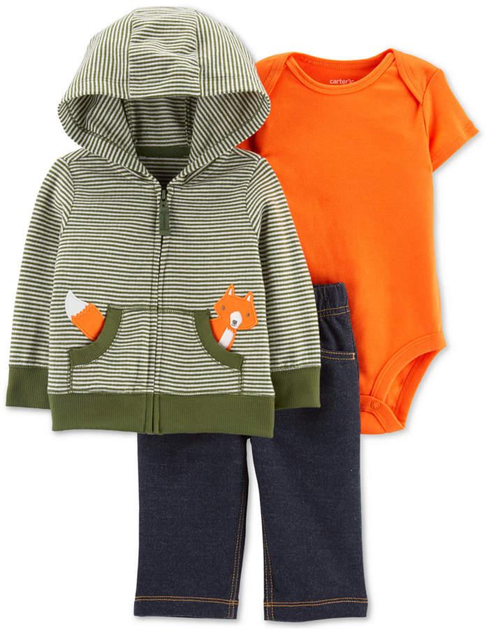 Carter's Carter Baby Boys 3-Pc. Hoodie, Bodysuit & Denim Pants Cotton Set